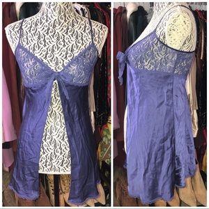 Victoria's Secret 100% silk & lace open front slip